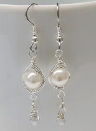 White Pearl Herringbone Wrapped Earrings with Crystal Drop