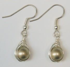 Platinum Pearl Herringbone Wrapped Earrings