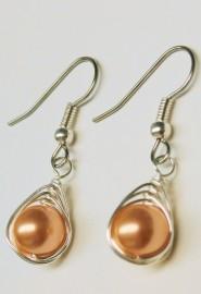Rose Peach Pearl Herringbone Wrapped Earrings