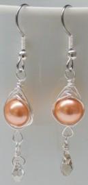Rose Peach Pearl Herringbone Wrapped Earrings with Crystal Drop