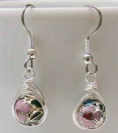 Pink, Green & Blue Cloisonné Herringbone Wrapped Earrings