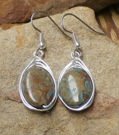 Oval Blue Sky Jasper Herringbone Wrapped Earrings