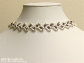 Daisy Vine Choker-White, Purple, and Silver