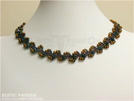 Daisy Vine Necklace-Blue, Purple, Iris, and Bronze