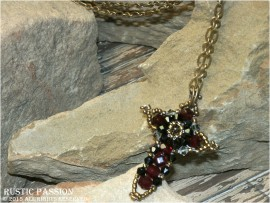Crystal Cross Necklace-Antique Gold, Red, and Black