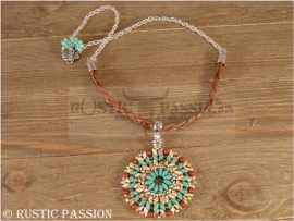 Mandela Pendant-Turquoise and Brown Leather with Silver Chain