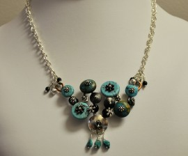 Turquoise and Silver Disk Necklace