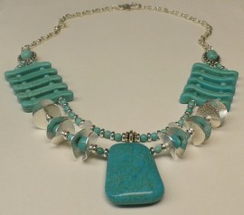 Turquoise and Silver Double Strand Statement Necklace