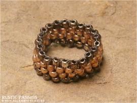 Woven Bead Band Ring-Dark Copper Border Light Inner Stripe