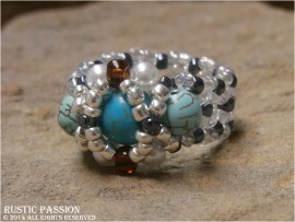 Woven Bead Hugs N Kisses Ring-Turquoise and Silver with Light Color Band