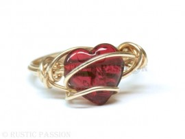 All Wrapped Up Red Heart Ring-Brass
