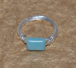 Amazonite and Sterling Silver wrapped ring