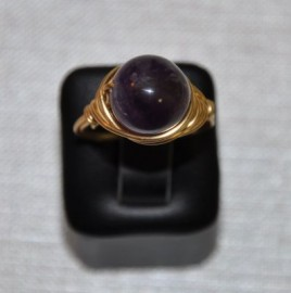 12mm Amethyst and Gold Plated Wire Wrapped Ring