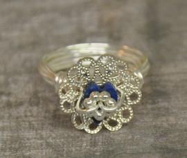 Blue Lapis Lazuli Heart and Filigree Ring