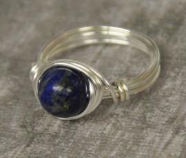 Lapis Lazuli Silver Wrapped Ring
