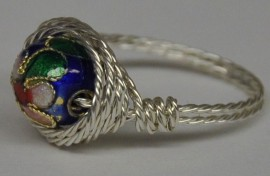 Blue and Gold Cloisonné Silver Twisted Wrapped Ring
