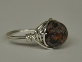 Leopard Jasper Silver Plated Wire Wrapped Ring