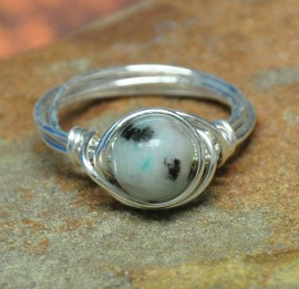 Round Sesame Jasper Silver Plated Wrapped Ring