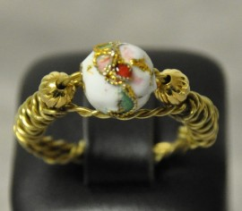 Twisted Wrapped Ring (oxidized) with Cloisonne bead
