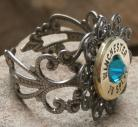 Ammo Ring-+P Blue Zircon Crystal and Antique Silver Filigree