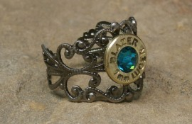Ammo Ring with Blue Zircon Crystal and Gun Metal Filigree Band