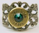 Ammo Ring with Emerald Crystal and Gun Metal Filigree Band