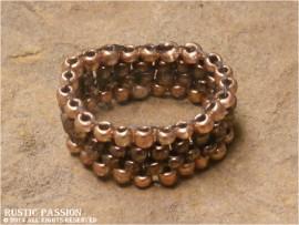 Woven Bead Band Ring-Light Copper Border Dark Inner Stripe