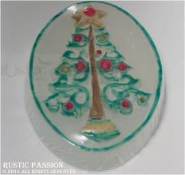 Christmas Tree Oval Handpainted Soap